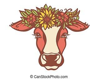 apariencia de la granja, vaca, wreath., aislado, país, ...