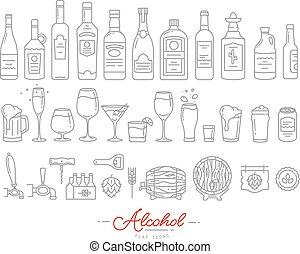 apartamento, álcool, ícones