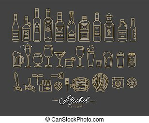 apartamento, álcool, ouro, ícones