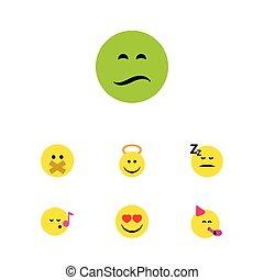 apartamento, ícone, emoji, jogo, de, tempo partido, emoticon, anjo, amor, e, outro, vetorial, objects., também, inclui, silêncio, coração, anjo, elements.
