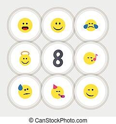 apartamento, ícone, gesto, jogo, de, pestanejo, anjo, tempo partido, emoticon, e, outro, vetorial, objects., também, inclui, divertimento, triste, pestanejo, elements.