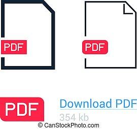 apartamento, ícone, set., símbolo., arquivo, download, pdf, linha, documento, style., design.