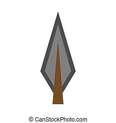 apartamento, ícone, tribal, elemento, forma, vetorial, archery., retro, arco, arma, arowhead