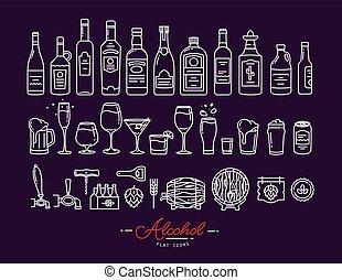 apartamento, ícones, álcool, violeta