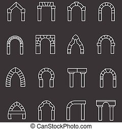 apartamento, ícones, archway, vetorial, linha, branca