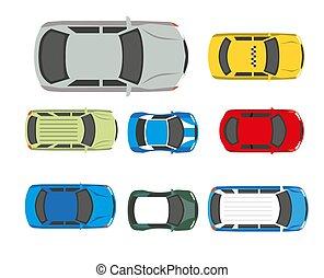 apartamento, ícones, carros, topo, veículos, vetorial, automóvel, ou, transporte, vista