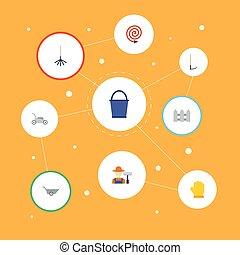 apartamento, ícones, cerca, balde, cortador, e, outro, vetorial, elements., jogo, de, agricultura, apartamento, ícones, símbolos, também, inclui, cercar, car, fruiter, objects.