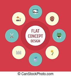 apartamento, ícones, cerca, flowerpot, grower, e, outro, vetorial, elements., jogo, de, agricultura, apartamento, ícones, símbolos, também, inclui, pulverizador, bagas, árvore, objects.