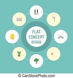 apartamento, ícones, cerca, hacksaw, látex, e, outro, vetorial, elements., jogo, de, agricultura, apartamento, ícones, símbolos, também, inclui, capim, cerca, grower, objects.