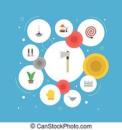 apartamento, ícones, cerca, machado, grower, e, outro, vetorial, elements., jogo, de, agricultura, apartamento, ícones, símbolos, também, inclui, fruiter, hosepipe, cerca, objects.
