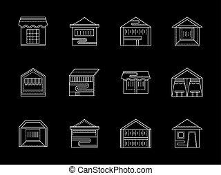 apartamento, ícones, comércio, vetorial, linha branca, tipos, barraca
