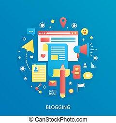apartamento, ícones conceito, gradiente, blogger, modernos, text., vetorial, bandeira, blogging