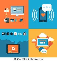 apartamento, ícones conceito, móvel, apps, telefone, projeto fixo, teia, serviços