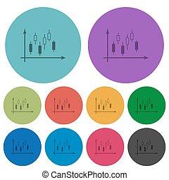 apartamento, ícones, cor, gráfico, machados, candlestick, escuro