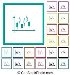 apartamento, ícones, cor, gráfico, machados, candlestick, quadrante, bordas