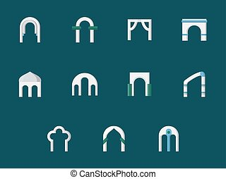 apartamento, ícones, cor, vetorial, arco, tipos