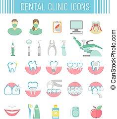 apartamento, ícones, dental, clínica, serviços, branca
