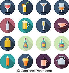 apartamento, ícones, desenho, bebidas