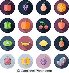 apartamento, ícones, desenho, frutas