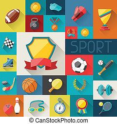 apartamento, ícones, desenho, fundo, desporto, style.
