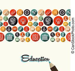 apartamento, ícones, educação, padrão