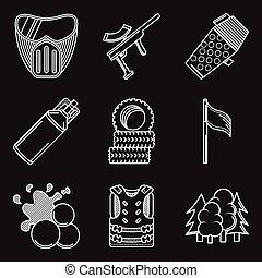 apartamento, ícones, equipamento, paintball, vetorial, linha branca