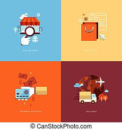 apartamento, ícones, fazendo compras online