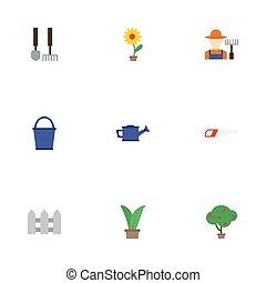 apartamento, ícones, flowerpot, ferramentas, hacksaw, e, outro, vetorial, elements., jogo, de, agricultura, apartamento, ícones, símbolos, também, inclui, cercar, grower, erva, objects.