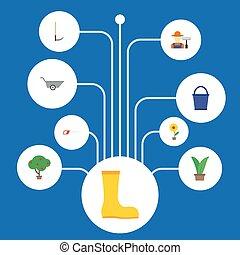 apartamento, ícones, flowerpot, planta, balde, e, outro, vetorial, elements., jogo, de, jardinagem, apartamento, ícones, símbolos, também, inclui, botas, árvore, fruiter, objects.