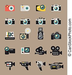 apartamento, ícones, foto, vetorial, câmera vídeo