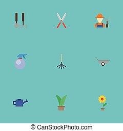 apartamento, ícones, garrafa spray, planta, flowerpot, e, outro, vetorial, elements., jogo, de, jardinagem, apartamento, ícones, símbolos, também, inclui, secateurs, fruiter, tesouras, objects.