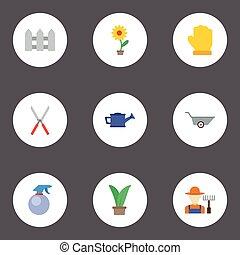apartamento, ícones, grower, carrinho de mão, tesouras, e, outro, vetorial, elements., jogo, de, horticultura, apartamento, ícones, símbolos, também, inclui, fruiter, jardineiro, bailer, objects.