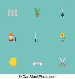 apartamento, ícones, grower, cerca, cortador, e, outro, vetorial, elements., jogo, de, agricultura, apartamento, ícones, símbolos, também, inclui, cerca, lawnmower, cortador, objects.