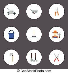 apartamento, ícones, grower, mower gramado, podador, e, outro, vetorial, elements., jogo, de, agricultura, apartamento, ícones, símbolos, também, inclui, capim, ancinho, lawnmower, objects.