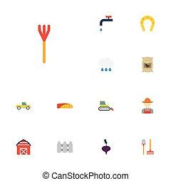 apartamento, ícones, grower, saco, pickup, e, outro, vetorial, elements., jogo, de, agricultura, apartamento, ícones, símbolos, também, inclui, combinar, charme, agricultura, objects.