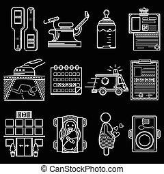 apartamento, ícones, gynecology, vetorial, linha branca