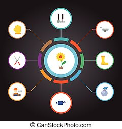 apartamento, ícones, lata molhando, ferramentas, grower, e, outro, vetorial, elements., jogo, de, agricultura, apartamento, ícones, símbolos, também, inclui, atomizador, ferramentas, luvas, objects.