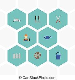 apartamento, ícones, lata molhando, mower gramado, mangueira, e, outro, vetorial, elements., jogo, de, agricultura, apartamento, ícones, símbolos, também, inclui, fruiter, capim, aguando, objects.