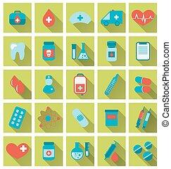 apartamento, ícones, médico, longo, cobrança, trendy, sombra