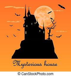 apartamento, ícones, misterious, casa, dia das bruxas, escuro, holiday., night.