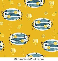 apartamento, ícones, padrão, peixe, cozinhar, seamless, mão, desenhado