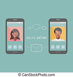 apartamento, ícones, par, ilustração, interracial, vetorial, online, app, namorando, style.