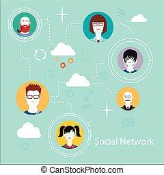 apartamento, ícones, para, social, mídia, e, rede, conexão, concept.