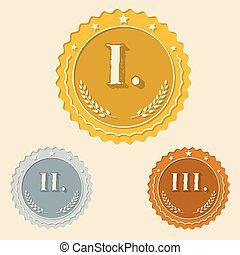 apartamento, ícones, romana, vário, números, recompensas