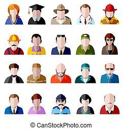 apartamento, ícones, set., homens, pessoas, avatar, mulheres, ícone