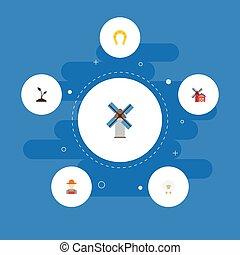 apartamento, ícones, talisman, grower, broto, e, outro, vetorial, elements., jogo, de, agricultura, apartamento, ícones, símbolos, também, inclui, pessoa, solo, sheep, objects.