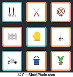 apartamento, ícones, tesouras, ferramentas, cerca, e, outro, vetorial, elements., jogo, de, horticultura, apartamento, ícones, símbolos, também, inclui, grower, jardim, hosepipe, objects.