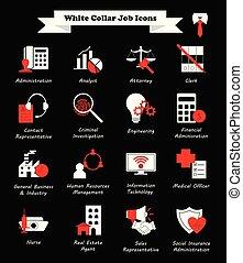 apartamento, ícones, -, trabalho, colarinho branco, vermelho