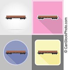 apartamento, ícones, trem, ilustração, carruagem, vetorial, estrada ferro