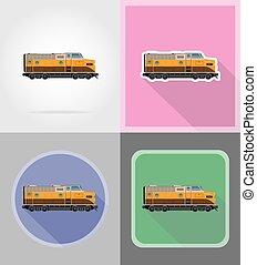 apartamento, ícones, trem, ilustração, vetorial, estrada ferro, locomotiva